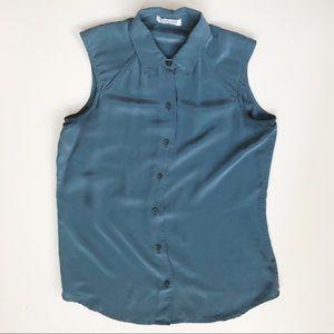 Everlane silk button down sleeveless shirt